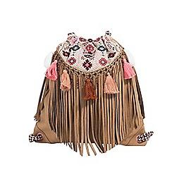 Parfois - Light cream folky rose backpack