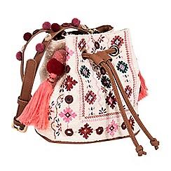 Parfois - Light cream folky rose cross bag
