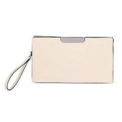 Parfois - Beige gold bar party clutch bag