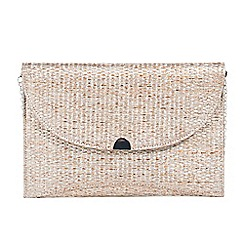 Parfois - Gold moon straw party clutch bag