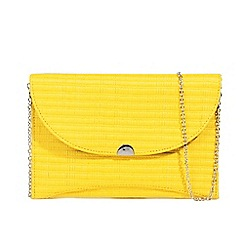 Parfois - Yellow moon straw party clutch bag