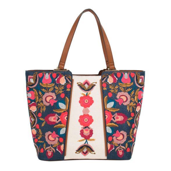 Navy Parfois bag Parfois shopper Navy flora ZBEzqnvfB