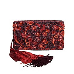 Parfois - Dark red morocco party clutch bag