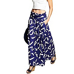 HotSquash - Navy & white brush strokes roll top maxi skirt