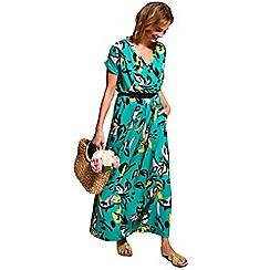 HotSquash - Floral graffiti cross over short sleeved maxi dress