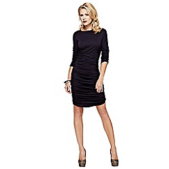 HotSquash - Black ruched dress in clever fabric