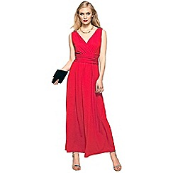 HotSquash - Red V Neck Maxi Dress in CoolFresh Fabric
