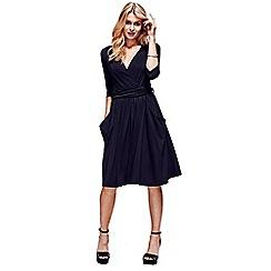 HotSquash - Black ThinHeat False wrap, fit 'n flare thermal dress