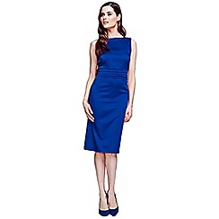 HotSquash - Royal blue silky dress with tie belt and pleat detail