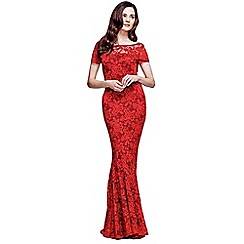 HotSquash - Red Lace Maxi Dress with Capped Sleeve