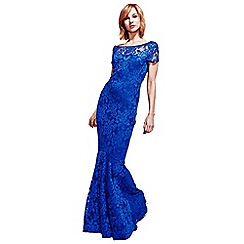 HotSquash - Royal Blue Lace Maxi Dress with Cap Sleeve