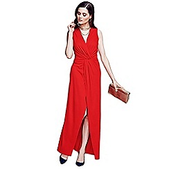 HotSquash - Long elegant red maxi dress with knot detail