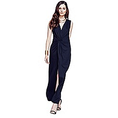 HotSquash - Long elegant black maxi dress with knot detail