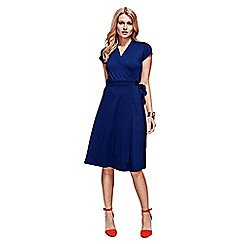 HotSquash - Navy Cap Sleeve Wrap Dress in Easycare Fabric