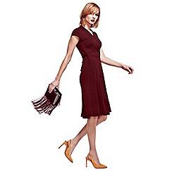 HotSquash - Burgundy Cap Sleeve Wrap Dress in Easycare Fabric