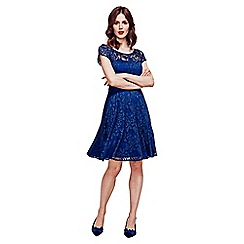 HotSquash - Navy lace fit n flare dress with thermal lining