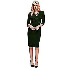 HotSquash - Bottle Green V Neck Mock Wrap Dress