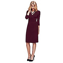 HotSquash - Burgundy V Neck Mock Wrap Thermal Dress