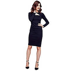 HotSquash - Black Mock Cardi Jersey Dress in Clever Fabric