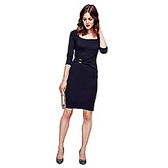 HotSquash - Black Gathered, Silver Buckle Dress in Clever Fabric