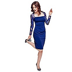 HotSquash - Royal Blue Lace Sleeved Jersey Dress in Clever Fabric