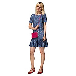HotSquash - Blue ditsy drop waist dress in cool fresh fabric