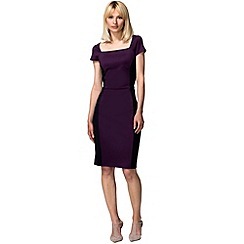 HotSquash - Damson & black square neck hourglass ponte dress
