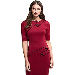HotSquash - Red ponte short-sleeved pencil dress