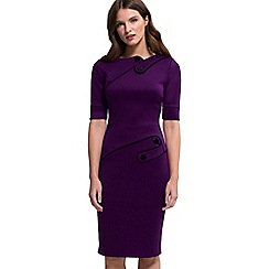 HotSquash - Damson ponte short-sleeved pencil dress