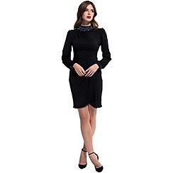 HotSquash - Black jersey 'agnes' high-neck long sleeves dress