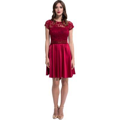 HotSquash - Red lace  ana  short-sleeved skater dress c2ee21ebd