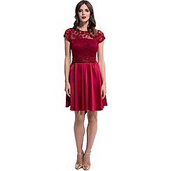 HotSquash - Red lace 'ana' short-sleeved skater dress