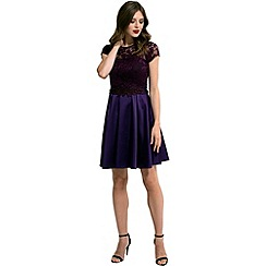 HotSquash - Purple lace 'ana' short-sleeved skater dress