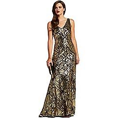 HotSquash - Gold lattice v neck sequin maxi dress