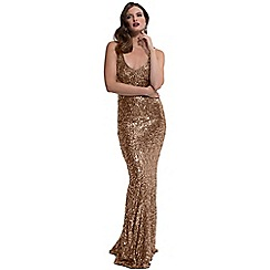 HotSquash - Gold sequin v-neck sleeveless maxi dress