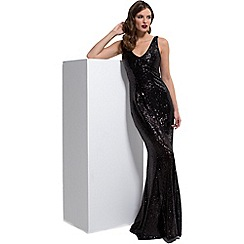 HotSquash - Black sequin v-neck sleeveless maxi dress