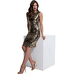 HotSquash - Gold sequin sleeveless kneelength dress