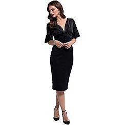 HotSquash - Black 'emma' v-neck pencil dress in clever fabric