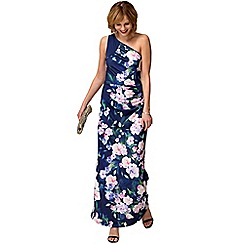 HotSquash - Blue flower garden one shoulder maxi dress