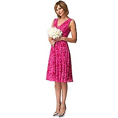 HotSquash - Pink floral lace sleeveless v neck dress