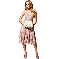 HotSquash - Light pink floral lace sleeveless v neck dress