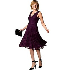 HotSquash - Purple floral lace sleeveless v neck dress