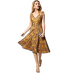 HotSquash - Yellow and brown floral lace v neck dress