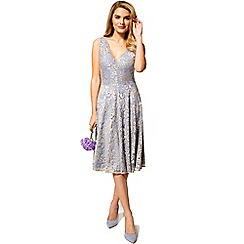 HotSquash - Blue and silver floral lace v neck dress