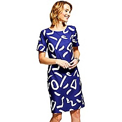 HotSquash - Navy & white print Riviera short sleeved shift dress