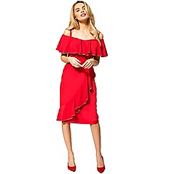 HotSquash - Red crepe 'bardot' knee length dress