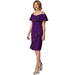 HotSquash - Purple crepe off-the-shoulder knee length dress