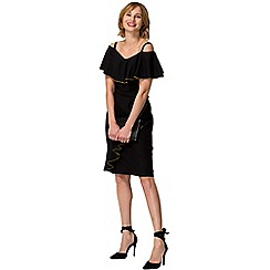 HotSquash - Black crepe off-the-shoulder knee length dress