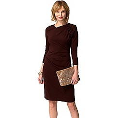 HotSquash - Chocolate ruffle jersey dress in thermal fabric