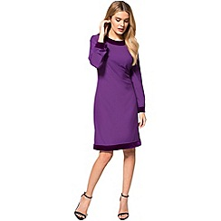 HotSquash - Purple crepe boat neck tunic dress with velvet